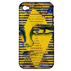 Conundrum Ii, Abstract Golden & Sapphire Goddess Apple Iphone 4/4s Hardshell Case (pc+silicone) by DianeClancy
