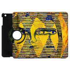Conundrum Ii, Abstract Golden & Sapphire Goddess Apple Ipad Mini Flip 360 Case by DianeClancy