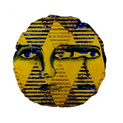 Conundrum Ii, Abstract Golden & Sapphire Goddess Standard 15  Premium Round Cushions by DianeClancy