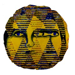Conundrum Ii, Abstract Golden & Sapphire Goddess Large 18  Premium Round Cushions by DianeClancy
