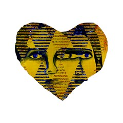 Conundrum Ii, Abstract Golden & Sapphire Goddess Standard 16  Premium Heart Shape Cushions by DianeClancy