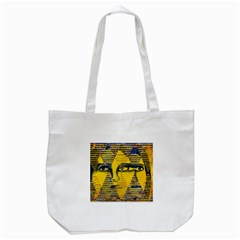Conundrum Ii, Abstract Golden & Sapphire Goddess Tote Bag (white) by DianeClancy