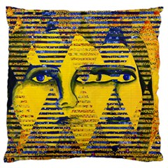 Conundrum Ii, Abstract Golden & Sapphire Goddess Large Flano Cushion Case (one Side) by DianeClancy