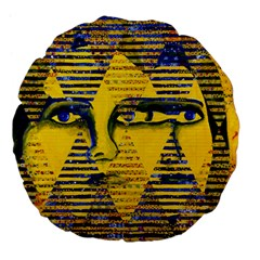 Conundrum Ii, Abstract Golden & Sapphire Goddess Large 18  Premium Flano Round Cushions by DianeClancy