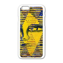 Conundrum Ii, Abstract Golden & Sapphire Goddess Apple Iphone 6/6s White Enamel Case by DianeClancy