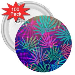 Colored Palm Leaves Background 3  Buttons (100 Pack)  by TastefulDesigns