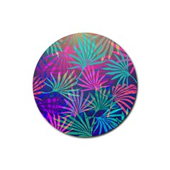 Colored Palm Leaves Background Rubber Coaster (round)  by TastefulDesigns