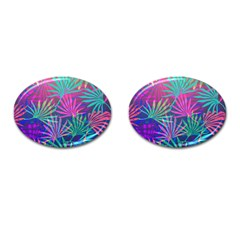 Colored Palm Leaves Background Cufflinks (oval) by TastefulDesigns
