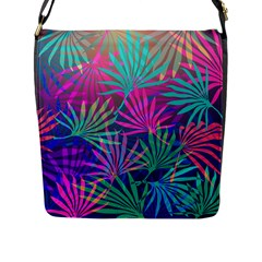 Colored Palm Leaves Background Flap Messenger Bag (l)  by TastefulDesigns