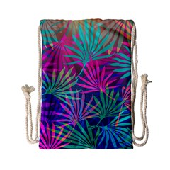 Colored Palm Leaves Background Drawstring Bag (small)