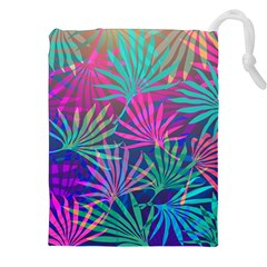 Colored Palm Leaves Background Drawstring Pouches (xxl)