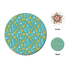 Summer Pineapples Fruit Pattern Playing Cards (round)