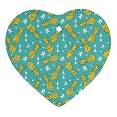 Summer Pineapples Fruit Pattern Heart Ornament (2 Sides) by TastefulDesigns