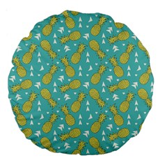 Summer Pineapples Fruit Pattern Large 18  Premium Flano Round Cushions by TastefulDesigns
