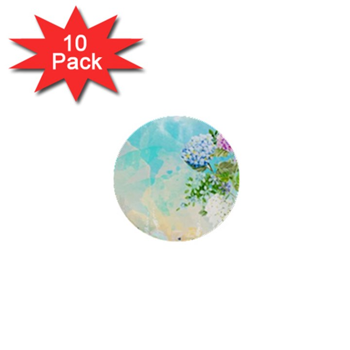 Watercolor Fresh Flowery Background 1  Mini Buttons (10 pack)