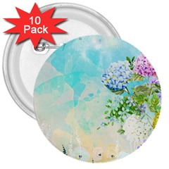 Watercolor Fresh Flowery Background 3  Buttons (10 Pack)  by TastefulDesigns