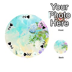 Watercolor Fresh Flowery Background Playing Cards 54 (round)