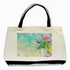 Watercolor Fresh Flowery Background Basic Tote Bag (two Sides) by TastefulDesigns