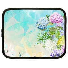 Watercolor Fresh Flowery Background Netbook Case (large)