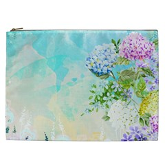 Watercolor Fresh Flowery Background Cosmetic Bag (xxl)