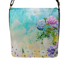 Watercolor Fresh Flowery Background Flap Messenger Bag (l)  by TastefulDesigns