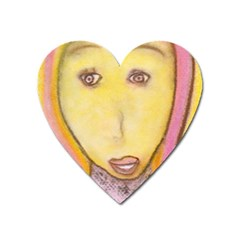 Portrait Of Archangel Michael, Spiritual Chalks Drawing Heart Magnet by yoursparklingshop