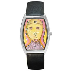 Portrait Of Archangel Michael, Spiritual Chalks Drawing Barrel Style Metal Watch by yoursparklingshop