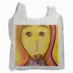 Portrait Of Archangel Michael, Spiritual Chalks Drawing Recycle Bag (one Side) by yoursparklingshop
