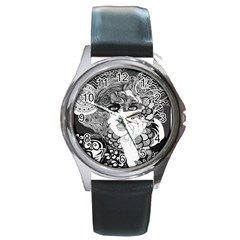 Smoking Woman Round Leather Watch (silver Rim) by DryInk