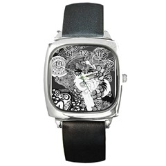 Smoking Woman Square Leather Watch by DryInk