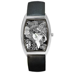 Smoking Woman Tonneau Leather Watch by DryInk