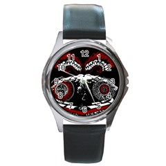 Fallen Angel Round Leather Watch (silver Rim) by DryInk