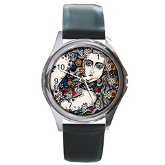 Flower Woman Round Leather Watch (silver Rim)