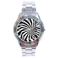 Zebra Face Stainless Steel Watch