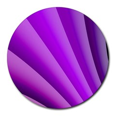 Gentle Folds Of Purple Round Mousepads by FunWithFibro
