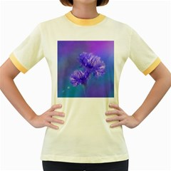 Flowers Cornflower Floral Chic Stylish Purple  Women s Fitted Ringer T-shirts by yoursparklingshop