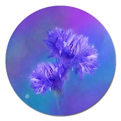 Flowers Cornflower Floral Chic Stylish Purple  Magnet 5  (round) by yoursparklingshop