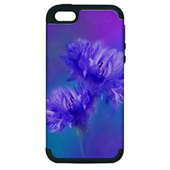 Flowers Cornflower Floral Chic Stylish Purple  Apple Iphone 5 Hardshell Case (pc+silicone) by yoursparklingshop