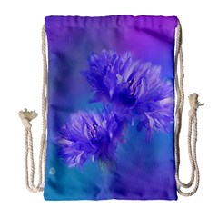 Flowers Cornflower Floral Chic Stylish Purple  Drawstring Bag (large) by yoursparklingshop