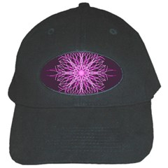 Pink Kaleidoscope Flower Mandala Art Black Cap by yoursparklingshop