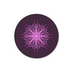 Pink Kaleidoscope Flower Mandala Art Magnet 3  (round) by yoursparklingshop