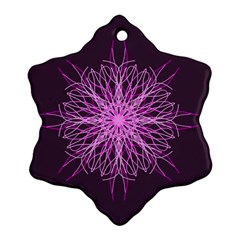 Pink Kaleidoscope Flower Mandala Art Ornament (snowflake)  by yoursparklingshop