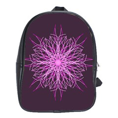 Pink Kaleidoscope Flower Mandala Art School Bags (xl)  by yoursparklingshop