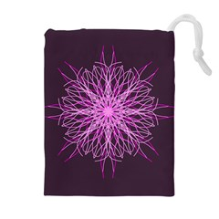 Pink Kaleidoscope Flower Mandala Art Drawstring Pouches (extra Large) by yoursparklingshop