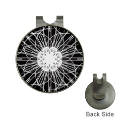 Black And White Flower Mandala Art Kaleidoscope Hat Clips With Golf Markers by yoursparklingshop