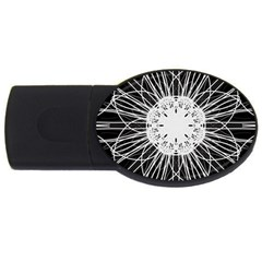 Black And White Flower Mandala Art Kaleidoscope Usb Flash Drive Oval (4 Gb)  by yoursparklingshop