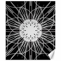 Black And White Flower Mandala Art Kaleidoscope Canvas 8  X 10  by yoursparklingshop