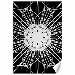 Black And White Flower Mandala Art Kaleidoscope Canvas 24  X 36  by yoursparklingshop