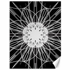 Black And White Flower Mandala Art Kaleidoscope Canvas 36  X 48   by yoursparklingshop