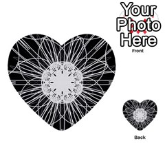 Black And White Flower Mandala Art Kaleidoscope Multi Purpose Cards (heart)  by yoursparklingshop